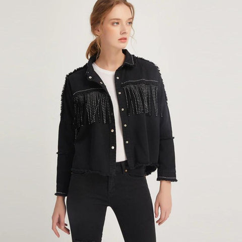 Vintage Stylish Fringe Beaded Loose Denim Jacket