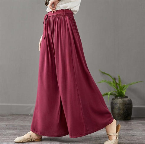 Vintage Wide Leg Cotton Plus Size & Oversized Pants-ChicBohoStyle