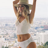 White Bow Sleeveless Ruched Crop Top-ChicBohoStyle