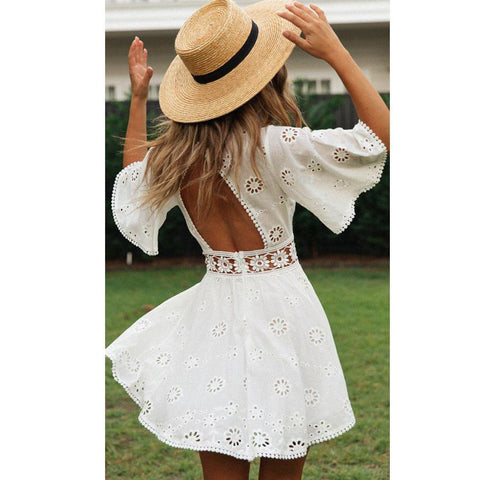 White Lace Floral Embroidery Short Sleeve Mini Dress-ChicBohoStyle