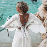 White Open Back Self-Tie Cover Up-ChicBohoStyle