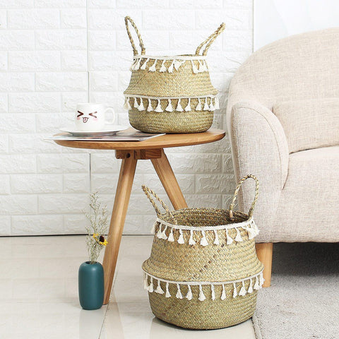 Wicker Basket With Tassels-ChicBohoStyle