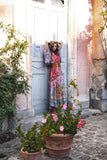 Wild Gypsy Red Bat Sleeve Maxi Dress-ChicBohoStyle