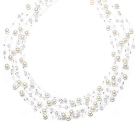 6 Row Illusion Pearl Necklace