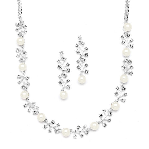 "Crystal & Pearl Necklace & Earing Set 19""-23""#4229S"