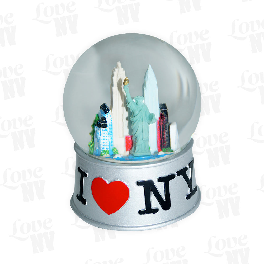 I LOVE NY New York Schneekugel Silber gross