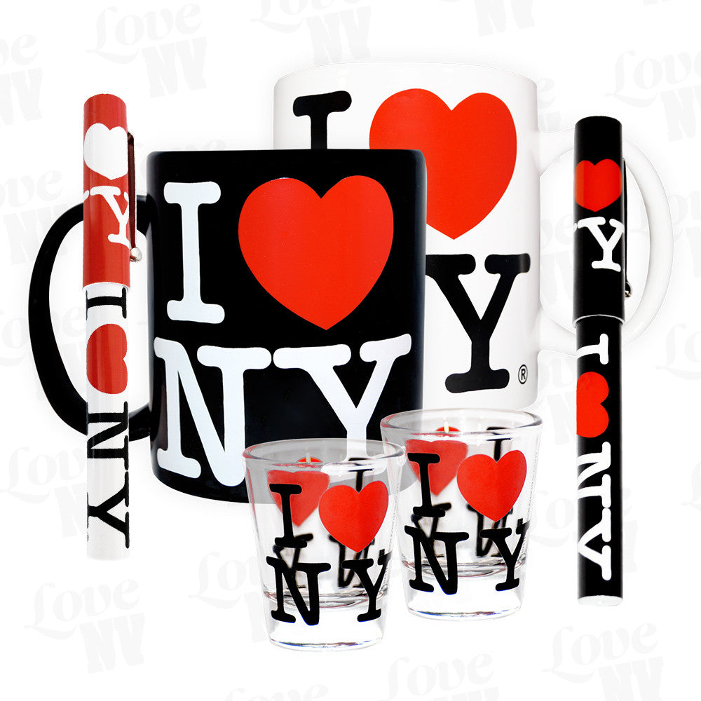I LOVE NY New York Set Kaffeetassen, Kugelschreiber und Party Shotgläser