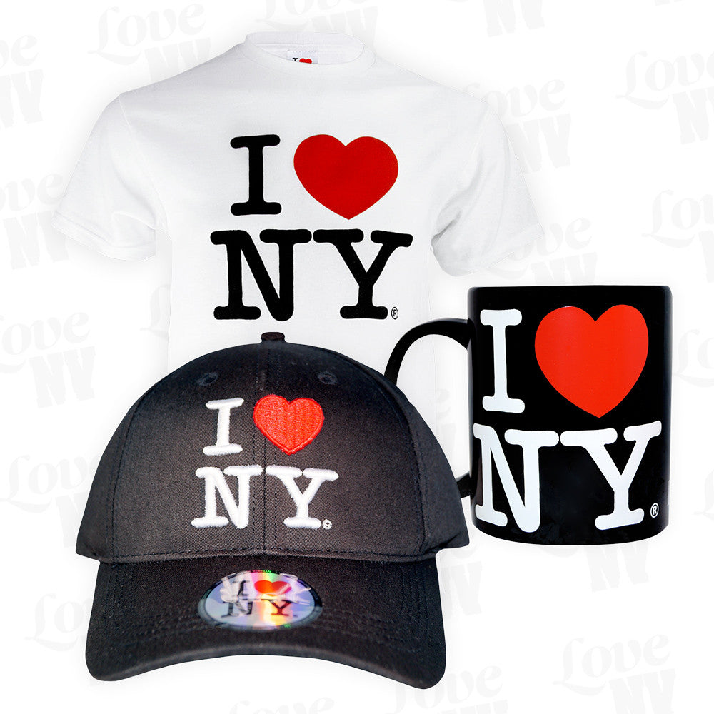 I LOVE NY Geschenke Set New York T-Shirt Kappe Cap Kaffeetasse