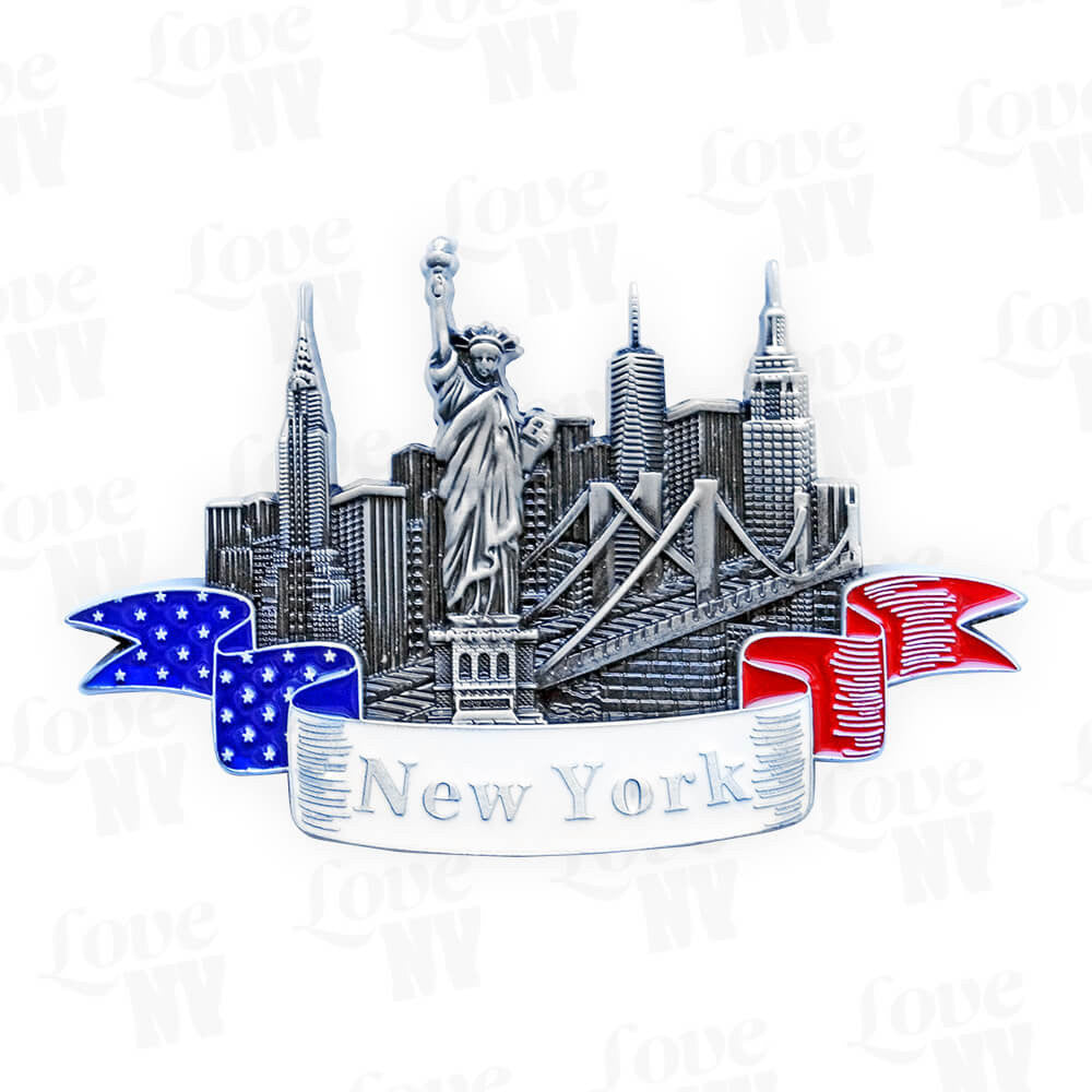 New York USA Banner Skyline Magnet