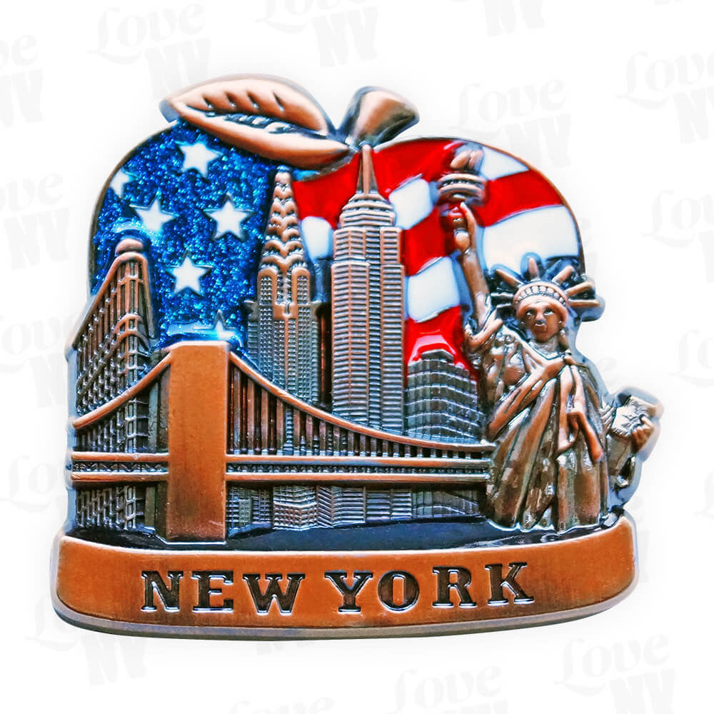 New York Big Apple USA Skyline Magnet