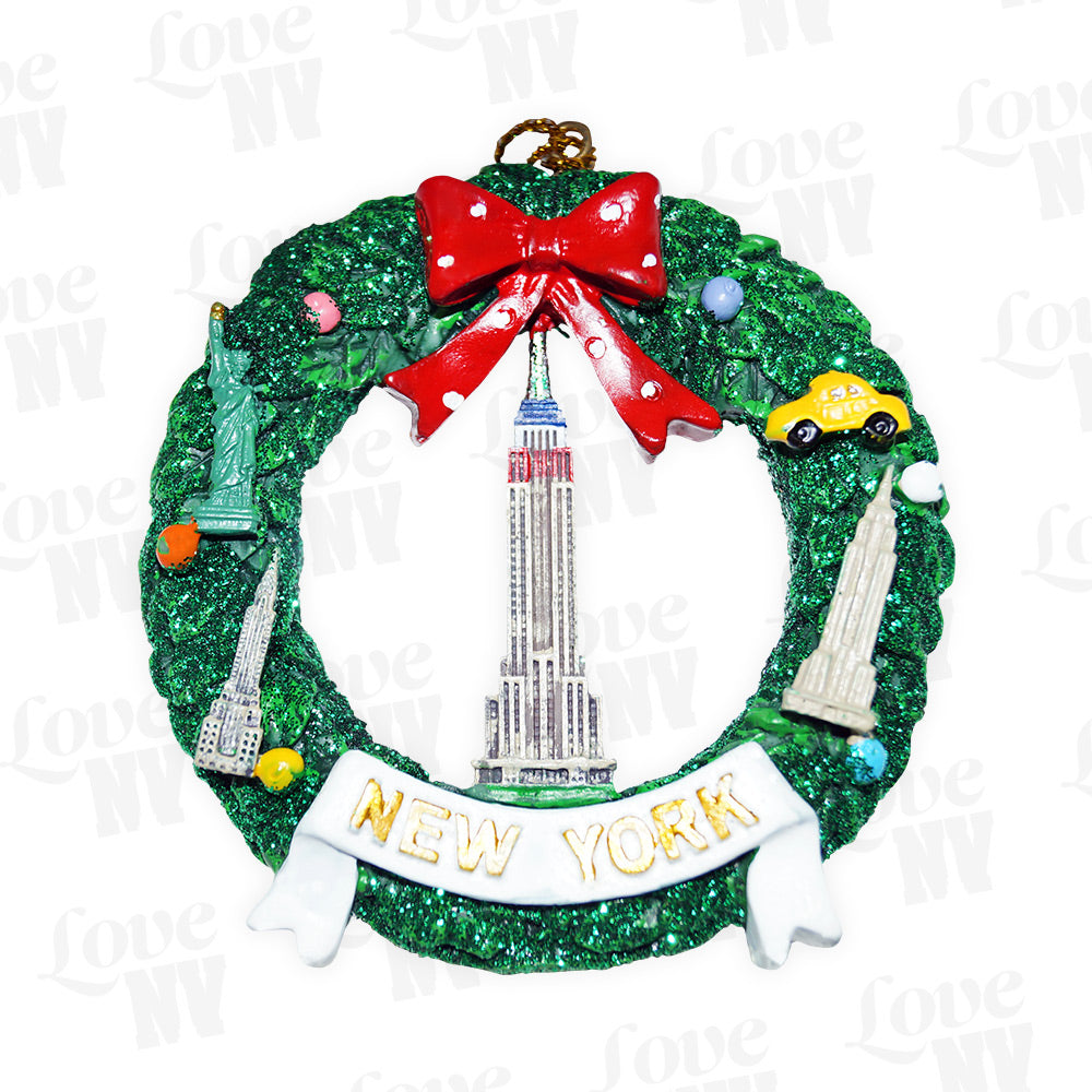 New York Weihnachtskranz Ornament Empire State Building