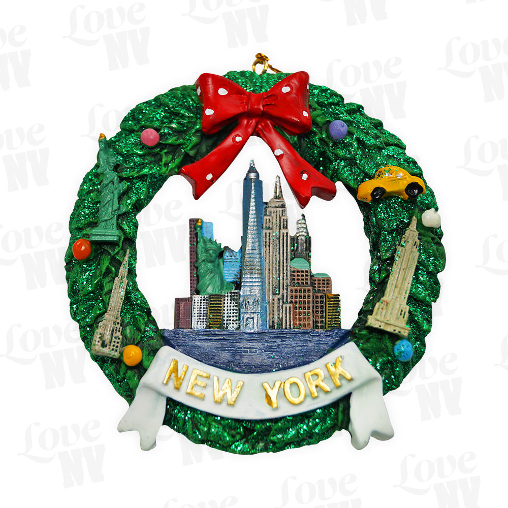 New York Skyline Weihnachtskranz Ornament Glitzer