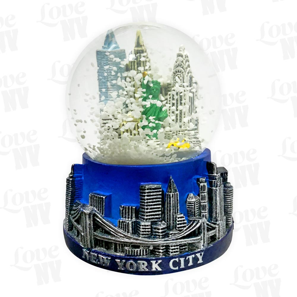 New York Midnight Blue Skyline Schneekugel Snowglobe