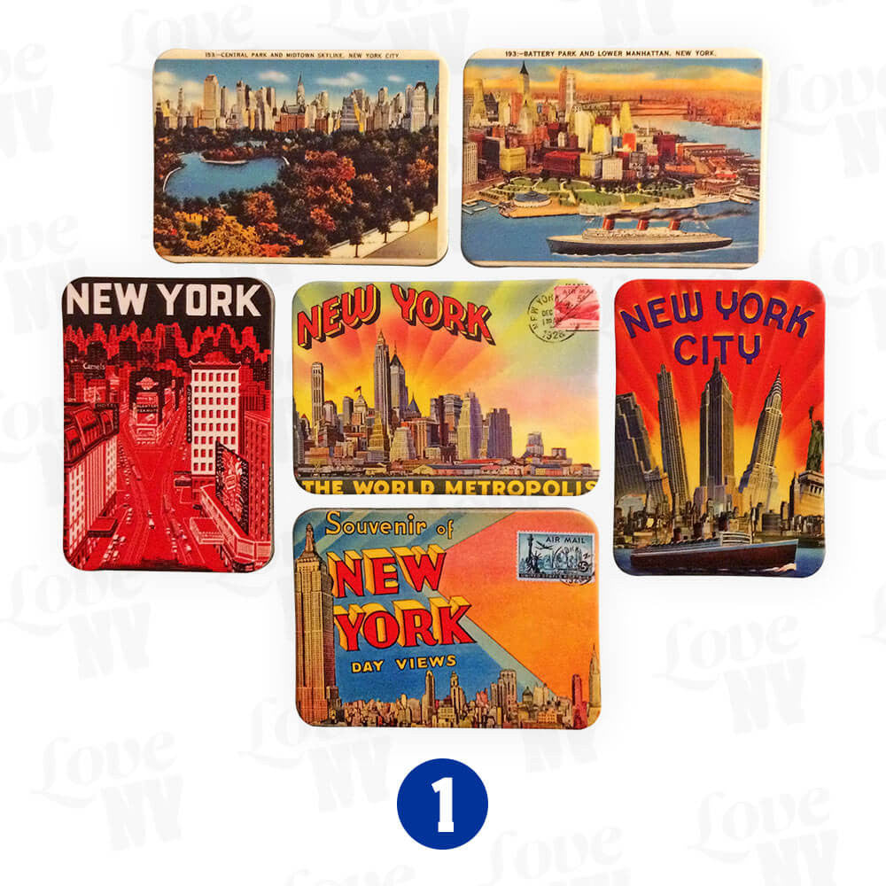New York City Vintage Retro Magnet Set 1