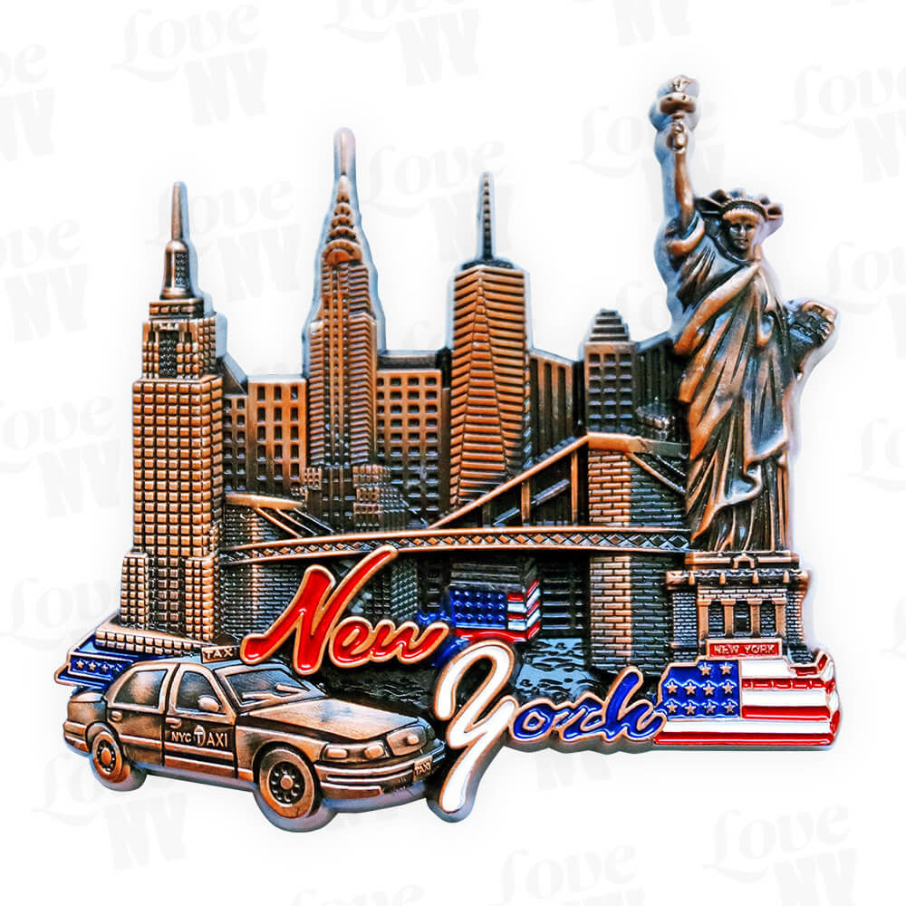 New York Taxi USA Skyline Magnet
