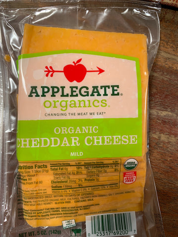 Applegate Organic Mild Cheddar Slices,5oz