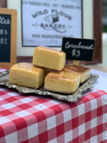 "Bakery, Wild Flour Bakery, 3""x3"" Cornbread Squares, individually wrapped"