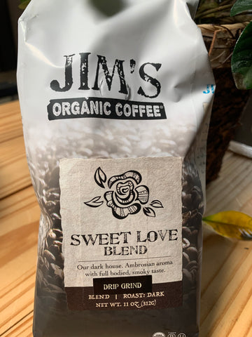 Coffee, Jim's Organics, Sweet Love Blend Coffee, ground, 11oz.