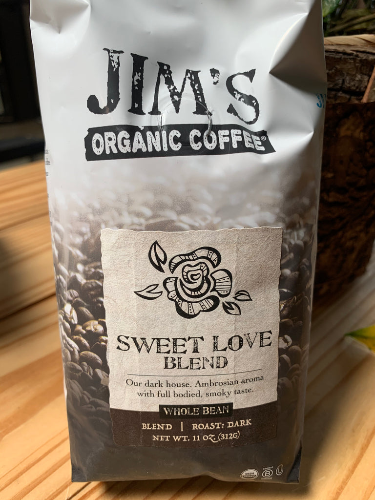 Coffee, Jim's Organics, Sweet Love Coffee, whole bean, 11oz.