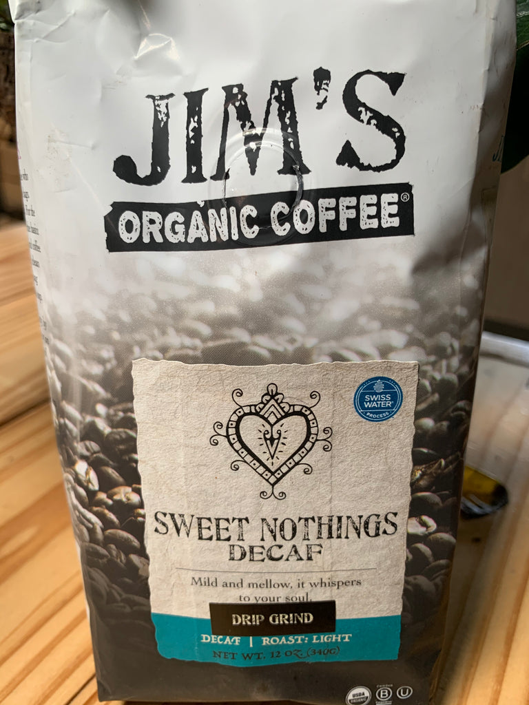 Coffee, Jim's Organics, Sweet Nothings Decaf Blend Coffee, ground, 12oz