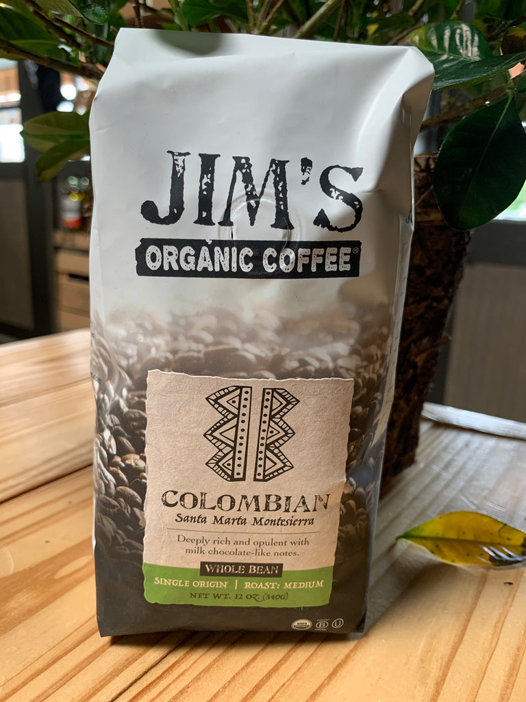 Coffee, Jim's Organics, Columbian Coffee, whole bean, 12 oz