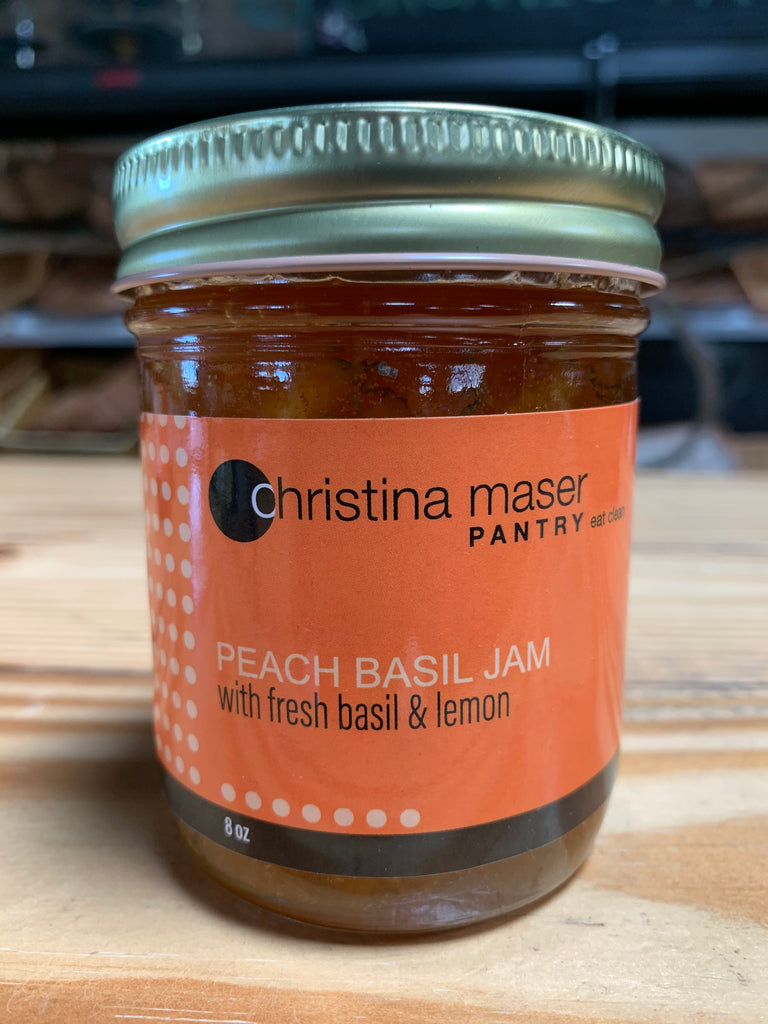 Christina Maser Peach Basil Jam with Lemon, 8oz