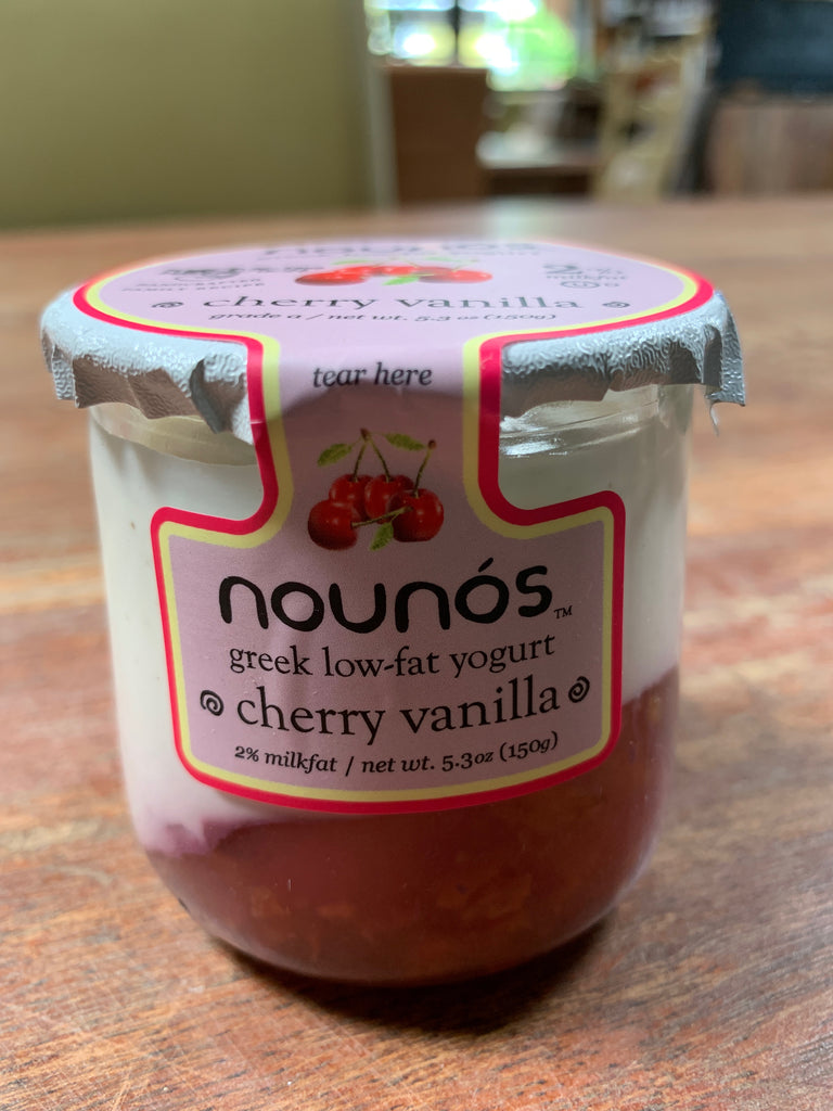 Nounos 2% Greek Yogurt, Cherry Vanilla, glass jar, 5.3oz