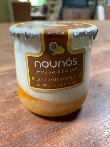 Dairy, Nounos 2% Greek Yogurt, Coconut Mango, glass jar, 5.3oz