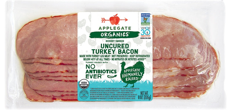 Meat, Applegate Organic Turkey Bacon, 8oz