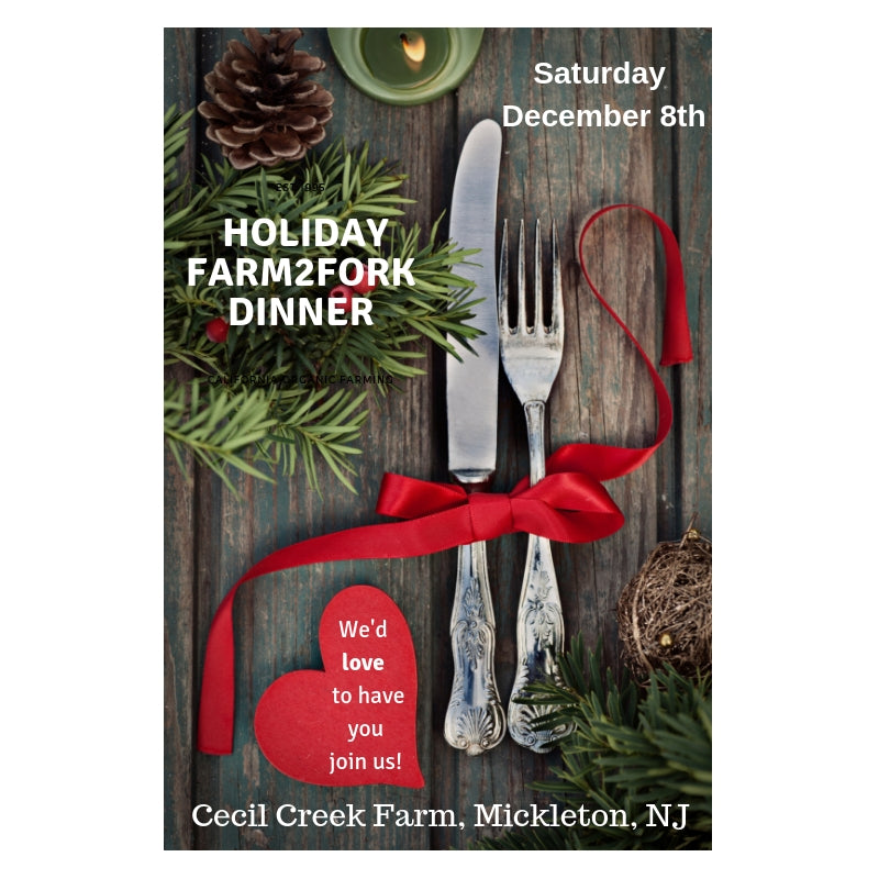 Holiday Community Table Farm to Fork Dinner - Saturday December 8th at 7pm