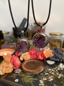 Amethyst Moon and Stars Necklace