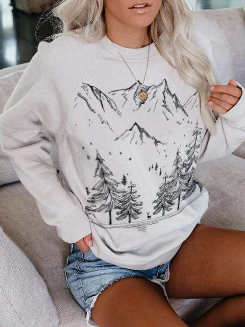 Mountain treetop landscape print relaxed woollen sweater