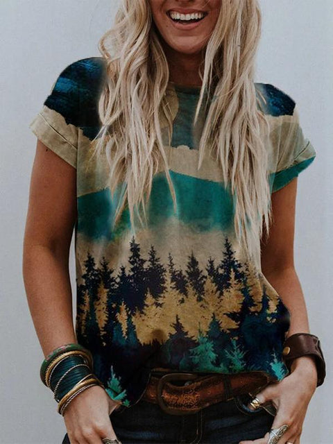 Lady treetop Mountain Landscape Printed round neck T-shirt