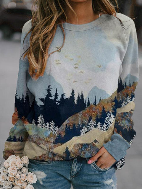 Lady's Mountain Landscape printed casual Sweatshirt