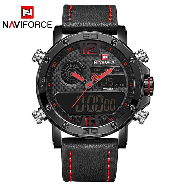 Leather  NAVIFORCE LED Waterproof Military Sports Watch - Challenger Gadgets