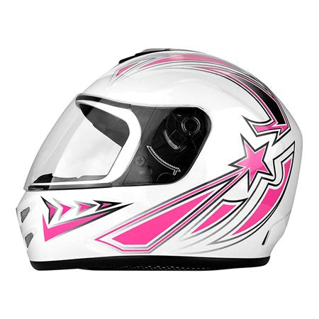Full Face Motorcycle Helmet With Flip Up Visor Gloss White / Pink - Challenger Gadgets