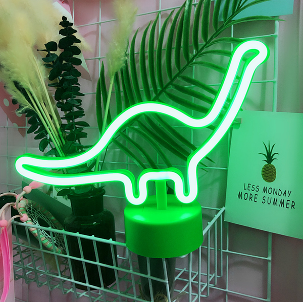 Neon Light Dinosaur Shaped Green Color with Holder Base (Pack of 1)