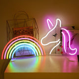 "Neon Light Wall Art Sign ""Unicorn"" Shaped Pink White Color (Pack Of 1)"