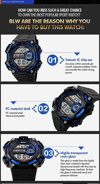 Heavyweight Chronograph Dual Time Trendy Sports Watch For Boys (5000-3)
