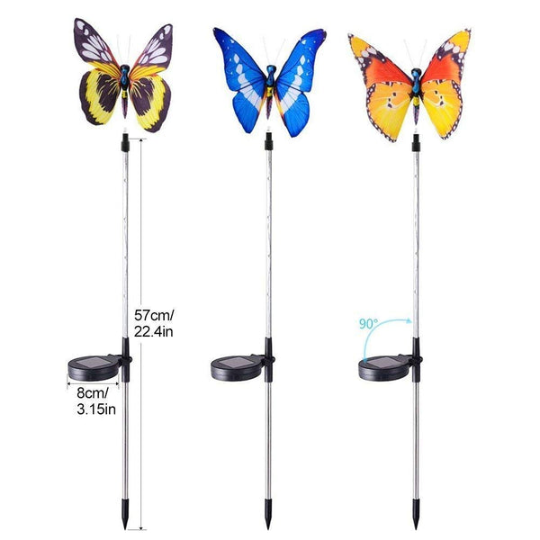 Solar Butterfly Outdoor Garden Lights Multi Color (Pack of 3)