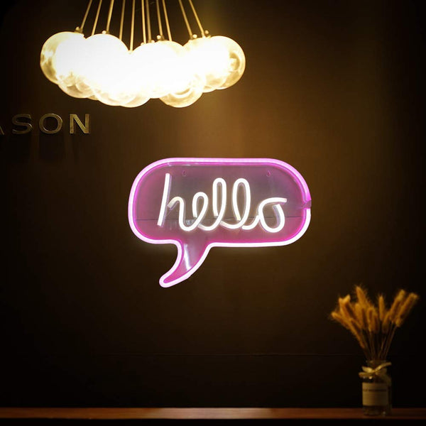 "Neon Light Wall Art Sign 17"" x 12"" inch Hello Sign LED Word Bubble (Pack of 1)"