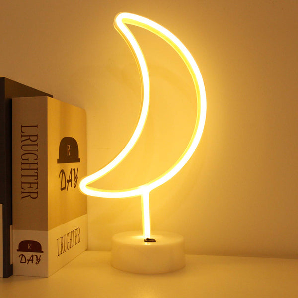 Neon Light Moon Shaped Warm white with Holder Base (Pack of 1)
