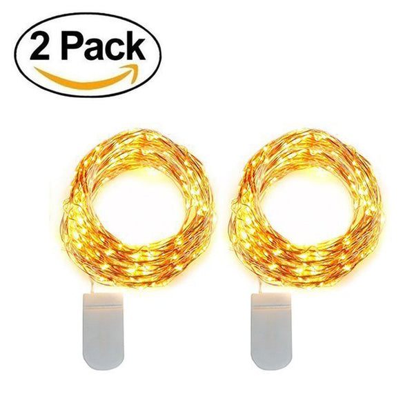 Starry String Light Warm White Battery Powered Button Light (Pack of 2)