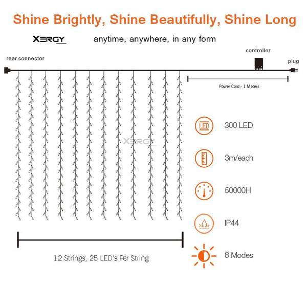 Curtain Light 300 LED with 8 Modes 3x3 (Pack of 1)