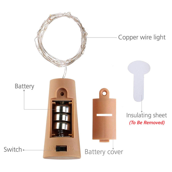 Fairy String Light Cork Shaped Warm White Bottle Light (Pack of 10)