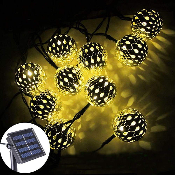 Solar Moroccan Balls Shaped String 15 Ft. 20 LED's Outdoor Garden Lights (Pack of 1)