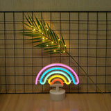 Neon Light Rainbow Shaped Multi Color with Holder Base (Pack of 1)