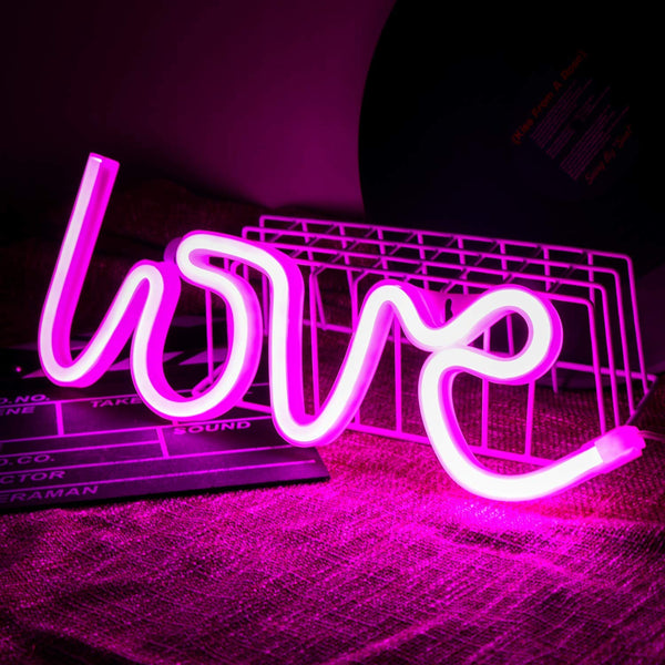 Neon Light Love Sign Pink Color with Holder Base (Pack of 1)