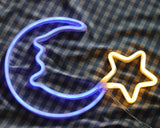 "Neon Light Wall Art Sign 15"" LED Moon Star Shaped (Pack of 1)"