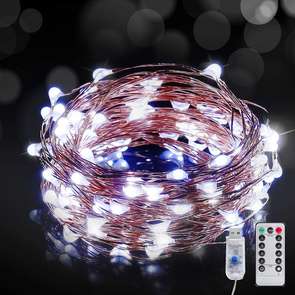 USB Powered Fairy Starry String Light 10 M 100 LED's Light Waterproof Cool White 8 Mode Settings (Pack Of 1)